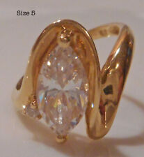 14KT Gold Diamonique CZ Ring.  2 ct. Marquise & Accent in Swirl Setting! Size 5