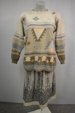 Damen Strick Pullover Gr. L Natur-Beige mit Muster Lammwolle Angora