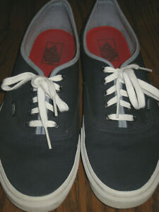 Mens gray Vans off the wall fabric lace up blue casual athletic sneakers 11.5