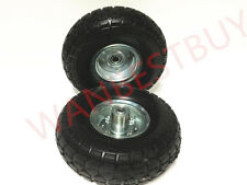 "2 x 250mm (10"") Heavy Duty Trolley Wheels 16mm Arbor SOLID Wheel 4.10/3.50-4"