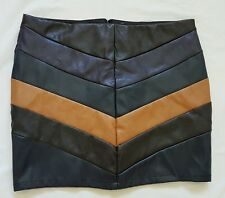 LEATHER LOOK Mini SKIRT Multi Coloured Size 14  - Bardot