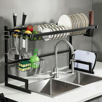 Large Over Sink Dish Drying Rack Stainless Steel Kitchen Drainer Shelf Holder US