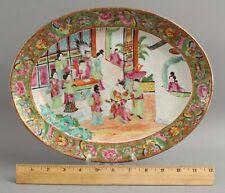 Antique Mid 19thC Chinese Export Rose Medallion Orange Peel Porcelain Platter