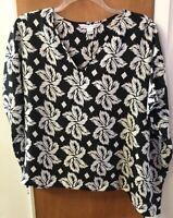 Diane von Furstenberg Black/White Leaf Print Silk Adria Top Blouse M NEW $298