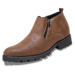 Mens Ankle Dress Boots Winter Fur-Lined Slip On Almond Round Toe Chelsea Shoes
