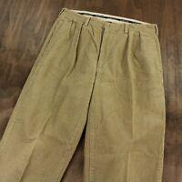 POLO RALPH LAUREN pleated wide wale corduroy pants 35 x 32 tag beige tan vtg