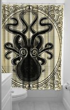 SOURPUSS KRAKEN UP FABRIC SHOWER CURTAIN VINTAGE STEAMPUNK OCTOPUS NEW