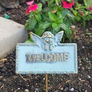 Vintage Brass Welcome Sign Cherub Patina Garden Decor Lawn Home Angel Taiwan ROC