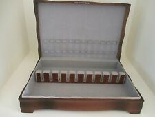 Vintage 1847 Rogers Bros Silver Flatware Wood Curved Footed Storage Chest Box