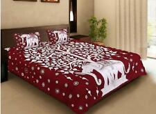 Traditional Elephant Printed 100% Cotton Hippie Bed Sheet With Two Pillow Covers