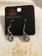 New! Paparazzi Jewelry• Silvertone Purple Chunky Drop Dangle Rhinestone Earrings