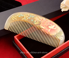 Chinese Oxen Horn Carved Anti-Static Hair Massage Comb/Colour Tree Peony Flower