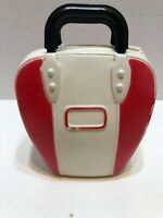 Vintage Plastic Bowling Ball Bag Coin Bank 1964 Made In USA Red White