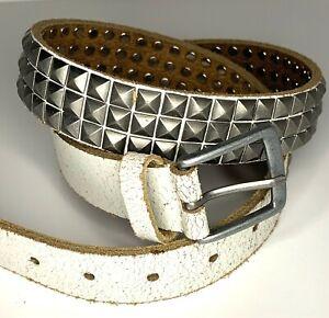 Vintage White Studded Belt by Next