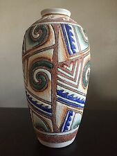 Fine Vintage MCM Italian Ceramic Pottery Vase Swirl Textured Art Colorful WOW