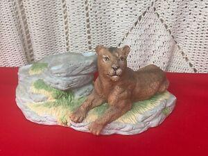 Vintage Stratford Master Works Porcelain Mountain Lion Puma Cougar RARE  ❤️sj7m