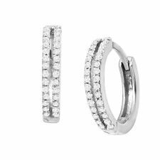 1/4 ct Diamond Huggie Hoop Earrings in Sterling Silver