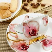 Bone China Tea Saucer Spoon Porcelain Coffee Cup Set, Tea Cups and Saucers Sets