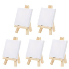 5 Sets White Blank Canvas With Easel For Painting Acrylic Oil Paint Portable