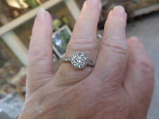 10K WG 1TCW Diamond Cluster Engagement Ring H SI2