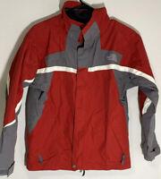 THE NORTH FACE HYVENT WINDBREAKER RAIN JACKET RED & GRAY BOYS SZ Large GUC