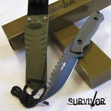 "Special Issue Survivor - 8"" Fixed Blade Hunting Knife w/Nylon Fiber Sheath Green"
