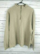 LL Bean Pullover Gray Ribbed Cotton Sweater Quarter Zip Mens Size XL
