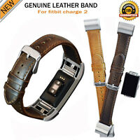Geniune Soft Leather Buckle Wrist Band Strap Horses Belt For fitbit Charge 2
