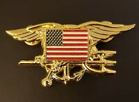 US Navy SEALS Special Warfare SEAL Team Trident Insignia AMERICAN FLAG GOLD Pin