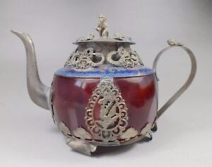 CHINESE OLD RED JADE HANDWORK INLAY TIBETAN SILVER Copper DRAGON TEAPOT CW