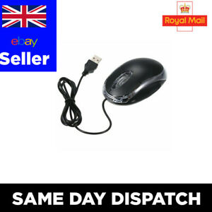 👉✅ WIRED USB OPTICAL MOUSE FOR PC LAPTOP COMPUTER SCROLL WHEEL - BLACK UK