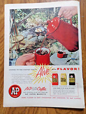 1956  A & P Coffee Ad Outdoor Fish Fry Fishing  Enamel Pot Theme