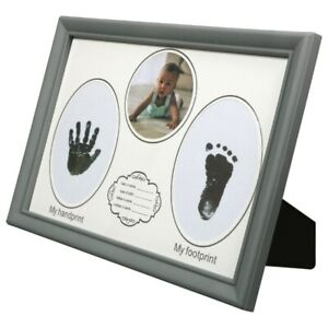 Baby's First Photo Frame 12x8.5 Hand & Foot Print Glass Pane Traditional Gray