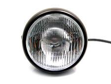 "6 3/4"" Matt Black Steel 12v Motorcycle Headlight For Harley Davidson Project"