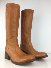 Gianni Barbato Women Leather Riding Pull On Boots Tan Size 38/ US8 Made In Italy