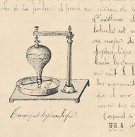 1902 science technic manuscript hydrolic turnstile & Archimedes handmade diagram