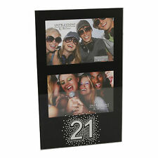 21st Birthday Double Black Glass Photo Frame  - Great Birthday Gift