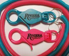 2 Riviera Casino slot players card bungee keychain lanyard cord Las Vegas Lot NU