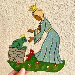 Laubsägearbeit VINTAGE 1960er DDR Kinderzimmer Figur 20cm Blau Prinzessin Krone