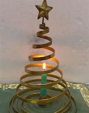 Artisan Made Spiral Metal Xmas Tree Holds Candle .Star On Top. Burnished Gold