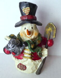 Holiday Snowman Winter Christmas Figurine Resin Carrot Nose