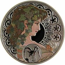 2010 Niue Large Proof Color Silver A.Mucha Zodiac Capricorn