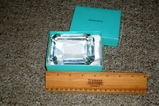 Tiffany & Co. Emerald Crystal Paper Weight Signed No Engraving With Box!