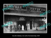 OLD LARGE HISTORIC PHOTO OF LINEVILLE ALABAMA THE FORE MOTORS DEALERSHIP c1920