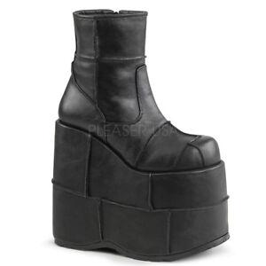 Demonia STACK-201 Men's Black Vegan Leather Wedge Platform Side Zip Ankle Boots