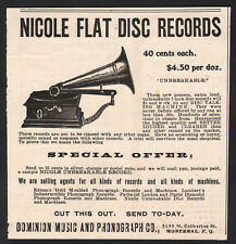 1904 Canadian Dominion Music & Phonograph print ad 40¢ Nicole record disc