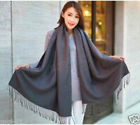 New Women's Fashion Warm 100% Cashmere Gray Pashmina Shawl Wrap Scarf Scarves
