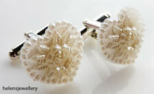GORGEOUS CREAM PEARL HEART CUFFLINKS + FREE GIFT BAG + FAST FREE P&P