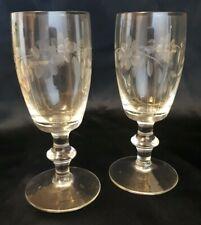 Victorian Engraved Drinking Glasses Barrel Body