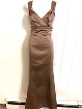 DAVIDS BRIDAL WOMENS LATTE F12910 SATIN BRIDESMAIDS LINED TRUMPET DRESS ~NWT~ 20